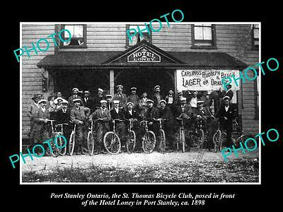 OLD LARGE HISTORIC PHOTO OF PORT STANLEY ONTARIO, St THOMAS BICYCLE CLUB c1898