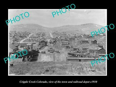 OLD LARGE HISTORIC PHOTO OF CRIPPLE CREEK COLORADO, VIEW OF THE TOWNSHIP c1910