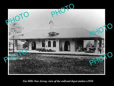 OLD LARGE HISTORIC PHOTO OF FAR HILLS NEW JERSEY, THE RAILROAD STATION c1910