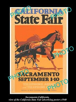OLD LARGE HISTORIC PHOTO OF SACRAMENTO CALIFORNIA, THE STATE FAIR POSTER c1940 3
