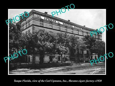 OLD LARGE HISTORIC PHOTO OF TAMPA FLORIDA, THE CARL UPMANN CIGAR FACTORY c1920