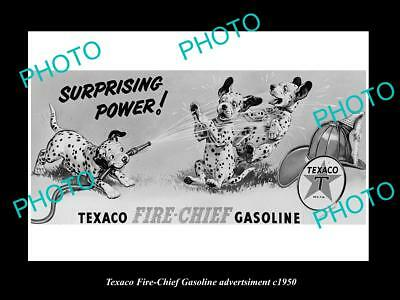 OLD LARGE HISTORIC PHOTO OF TEXACO OIL Co FIRE CHIEF GASOLINE POSTER c1950 1