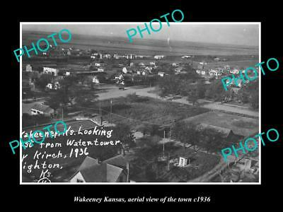 OLD LARGE HISTORIC PHOTO OF WAKEENEY KANSAS, AERIAL VIEW OF THE TOWN c1936
