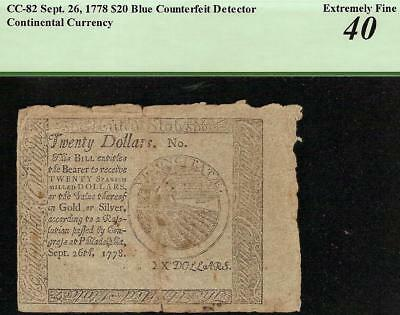 1778 $20 Dollar Blue Counterfeit Detector Note Continental Currency Cc-82 Pcgs