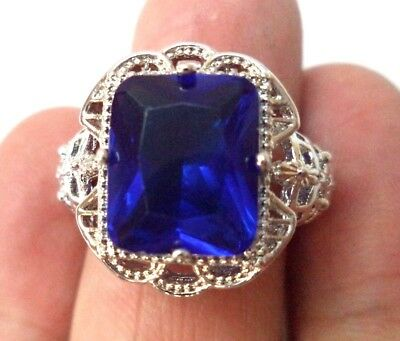 Vintage Estate Signed 925 Sterling Silver Large Blue Stone Sz 8 Ring!!! 1823X