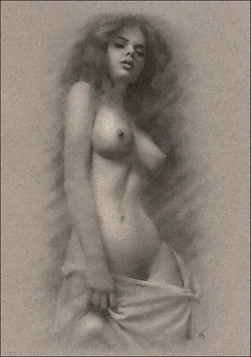 Female Nude ORIGINAL DRAWING Charcoal Chalk Fine Art naked woman NO RESERVE nr