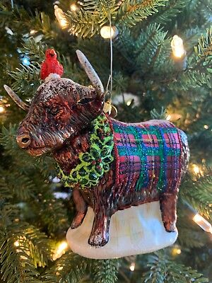 Mackenzie Childs Highlands Cow Christmas Holiday Ornament
