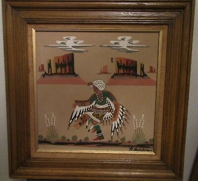 VINTAGE WALLACE WATCHMAN LARGE SAND PAINTING  DANCER Sandpainting NM NEW MEXICO