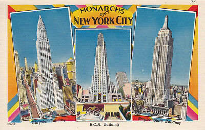 Vintage Postcard USA Monarchs of New York City: Chrysler, R.C.A. + Empire State