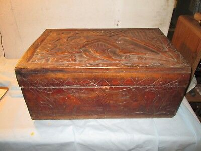 """Antique Vintage with EAGLE Hand Carved Wood, Trunk or Chest 23"""" x 15"""" x 11"""""""
