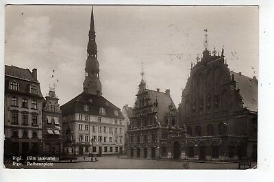 1930 Riga Latvia RPPC Rathausplatz, Stamp, Sent To Brooklyn New York