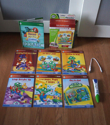 Leap Frog LEAP READER Interactive READING SYSTEM Pen/Stylus, Cord, 7 Books Lot