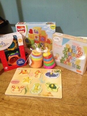 Bundle First Birthday Baby Toddler Toys Stacking Cups Bath Shape Sorter Puzzle
