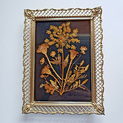 "Pressed Flowers Picture Metal Gold Colored 8""x6"" Frame Vintage Handmade Autumn"