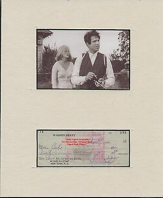 WARREN BEATY Early BEATTY Film Actor Hand Signed Bank Cheque 1960 Display   RARE