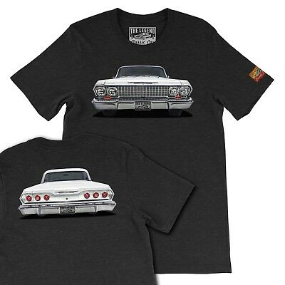 1963 White Chevy Impala  The Legend Classic Car, Men's Gift T-shirts Made in USA