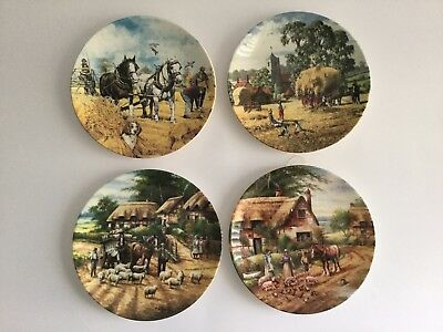 "WEDGWOOD 8"" Collectors Plates - Country Days, The Farm Year, Working Horses X 4"