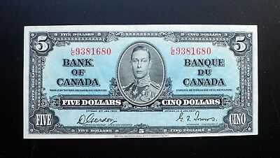1937 BANK OF CANADA $5 DOLLARS  **Gordon & Towers**  L/C 9381680  BC-23b