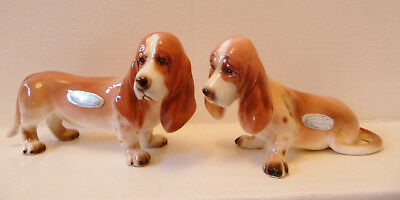 "2 Vintage Enesco ""basil"" The Basset Hound Dogs Porcelain Figures"