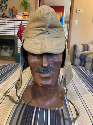 WW1 US Military Issue WINTER COLD WEATHER WOOL LINED HAT VERY NICE