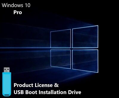Microsoft Windows 10 Pro USB Boot Install Drive & Genuine License (32/64bit)