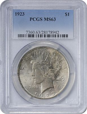 1923 Peace Silver Dollar MS63 PCGS Dark Grey Cloudy Toned on Obverse