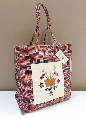 Longaberger Old Glory Tiny Tote - Embroidered Canvas - Perfect Size! - NWT