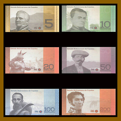 Venezuela 5 - 200 Zamoranos (6 Pcs Full Set) Local Currency Cojedes Potencia Unc