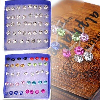 20 Pairs Rhinestone Crystal Plastic Round Earrings Stud Women Wholesale Jewelry