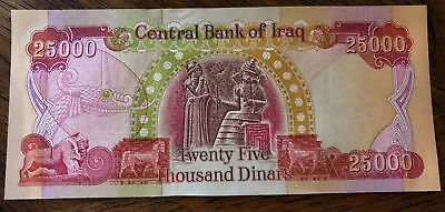 25,000 IRAQI DINAR IQD (1) 25k BANKNOTE UNCIRCULATED AUTHENTIC