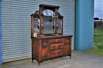 Large Antique Mahogany Chiffonier Sideboard Mirrored.
