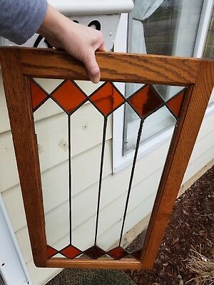 Antique stained leaded glass cabinet door with oak frame