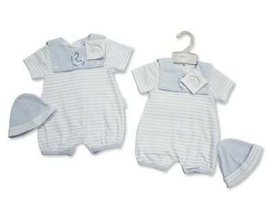 Baby Boy Clothes Spanish style  Romper+ Hat All in One blue newborn - 3 Months