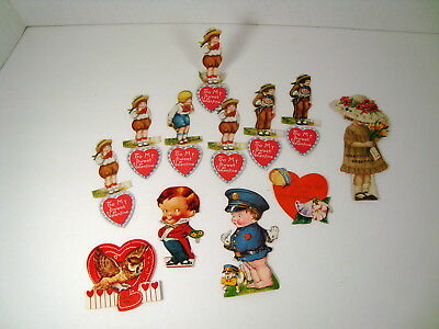 Vintage Lot Of Valentines Day Cards *Hearts* Stand Up *Scrapbooking*Owl