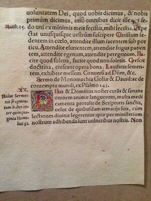 Original c1560 Augustine Bible Sermon Leaf