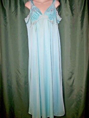 Vintage Shadowline Long Silky Night Gown~Aqua & Lace~Empire Style~Sze Lge