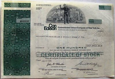 Stock certificate Consolidated Edison Twin Towers World Trade Center green