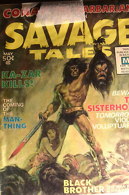 Savage Tales 1 magazine signed by Roy Thomas in Very Fine condition