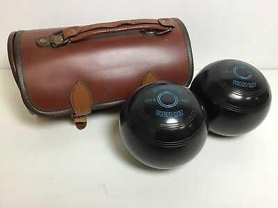 Set of 2 Soverign Short Mat Crown Green Bowling Balls in Leather Carrying Case