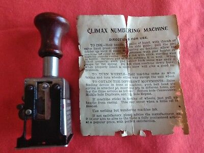 Numbering Machine Vintage Climax Numbering Machine With Directions In Wood Box
