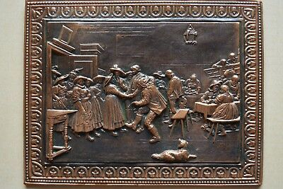 Soviet hammered BAS RELEIF Embossed COPPER Olden Times Tavern Pub Dance Party