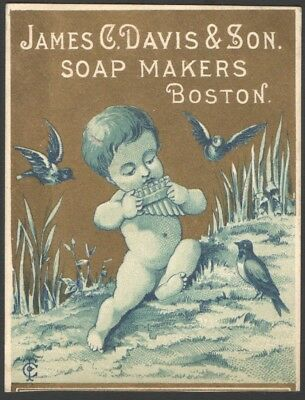 JAMES DAVIS & SON SOAP MAKERS BOSTON Victorian TradeCard Child Playing Harmonica