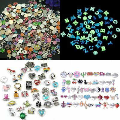 50Pcs/Lot Mix Floating Charm Glass Living Memory Colorful Locket Stainless Steel