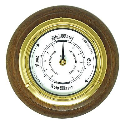 Tabic Solid Brass Tide Clock and English Oak Mount, Handmade in  England