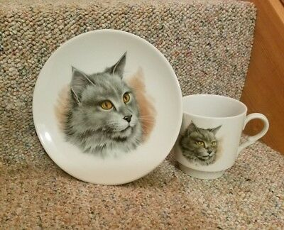 Vintage Long Hair Gray Cat Plate & Cup Bavaria Arzberg China Germany Schumann