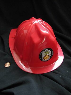 Dress Up Red Fire Fighter Chief Man Helmet Plastic Pretend Play Toy by TOYI
