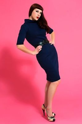 Heart of Haute USA Mid Century Sleeve Mod Super Spy Navy Blue Pencil Dress S-XL