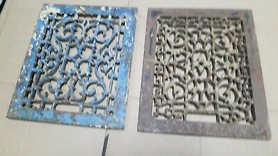 2 Cast Iron grate/vent COVERS craftsman Victorian wall/floor NOT matching pair