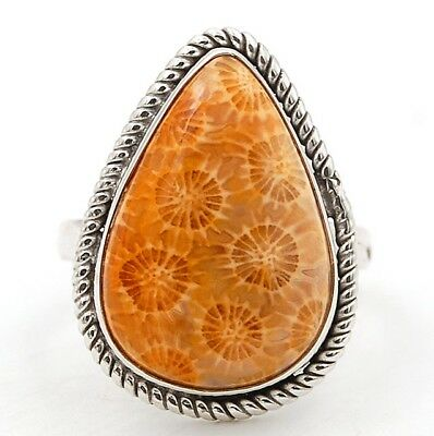Fossil Coral 925 Solid Sterling Silver Ring Jewelry Sz 6, 1C7-3