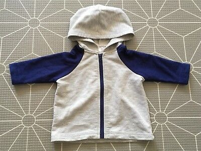 MIX BABY Grey/Navy Blue Raglan Sleeve Zip Hoodie Light Jacket Baby Boy Size 000